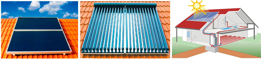 Solvis flat plate, evacuated tube solar thermal collectors and the solar heating system SolvisMax
